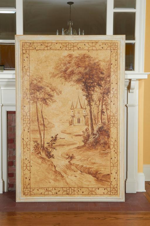 Romantic Set of Six Sepia-Toned Decorative Panels after Rex Whistler For Sale
