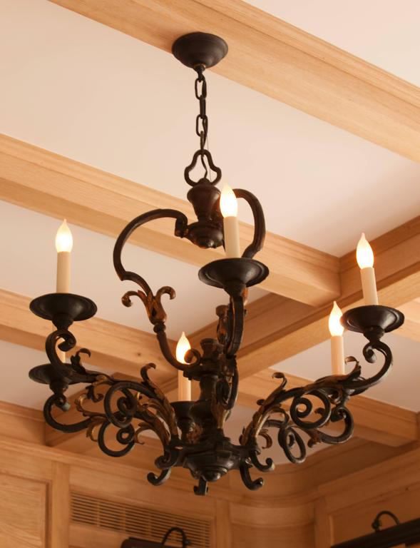 18th Century Louis XV Iron and Gilt Six-Light Chandelier For Sale