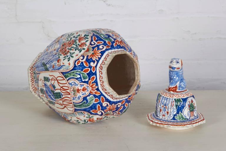 18th Century and Earlier 18th Century Delft Polychrome Covered Vase For Sale