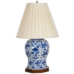 18th Century Delft Blue and White Vase Mounted as a Lamp