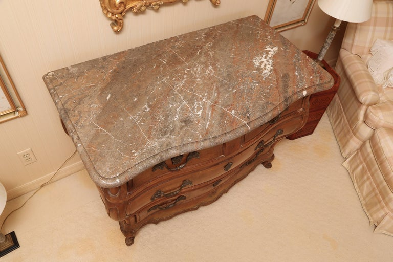 Rococo Louis XV Marble Top Walnut Bombé Commode For Sale