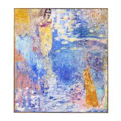 """Elizabeth Cain, """"Bathing with Buddha"""", Oil on Canvas, 1985"""