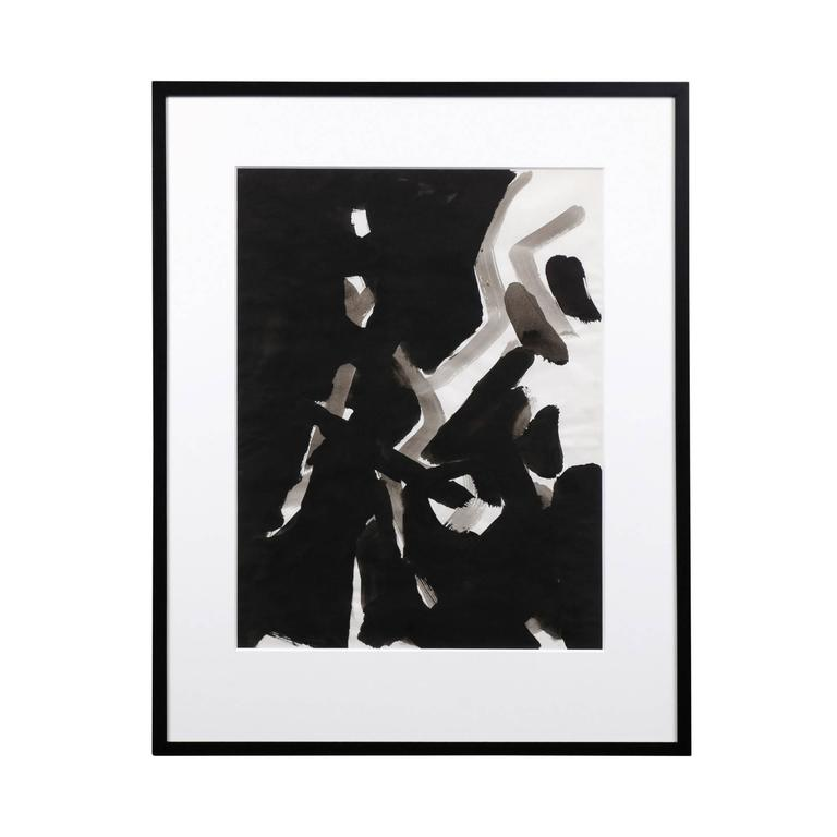 Jacques Nestle, Black and White Abstract, Framed