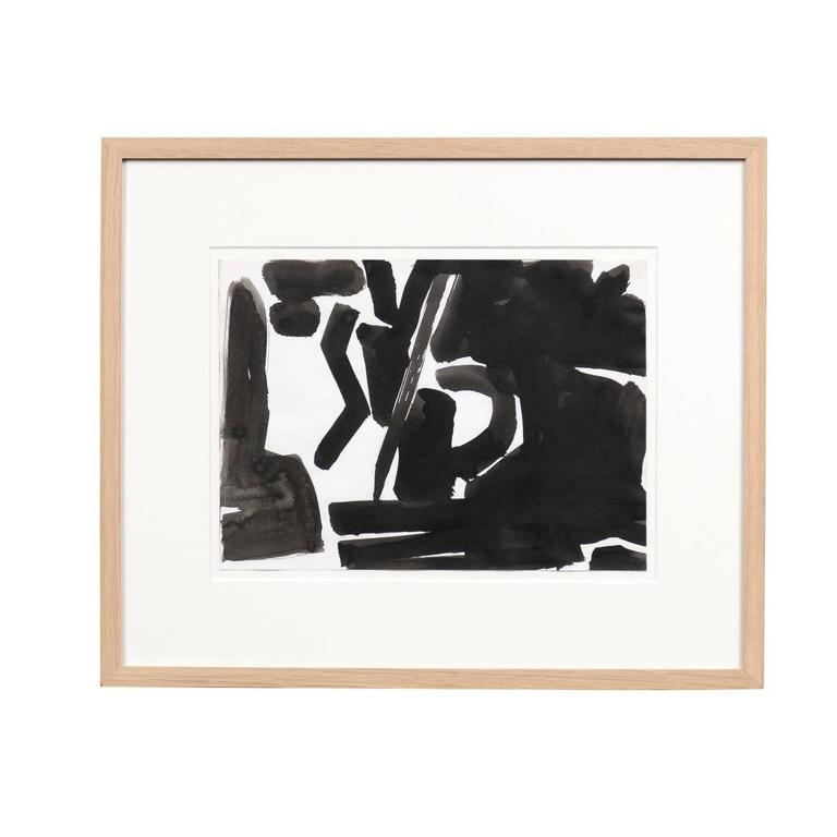 Jacques Nestle, Original Black and White Artwork in Walnut Frame