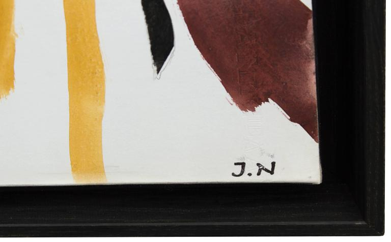 French Abstract Gouache on Canvas by Jacques Nestle, circa 1950s For Sale