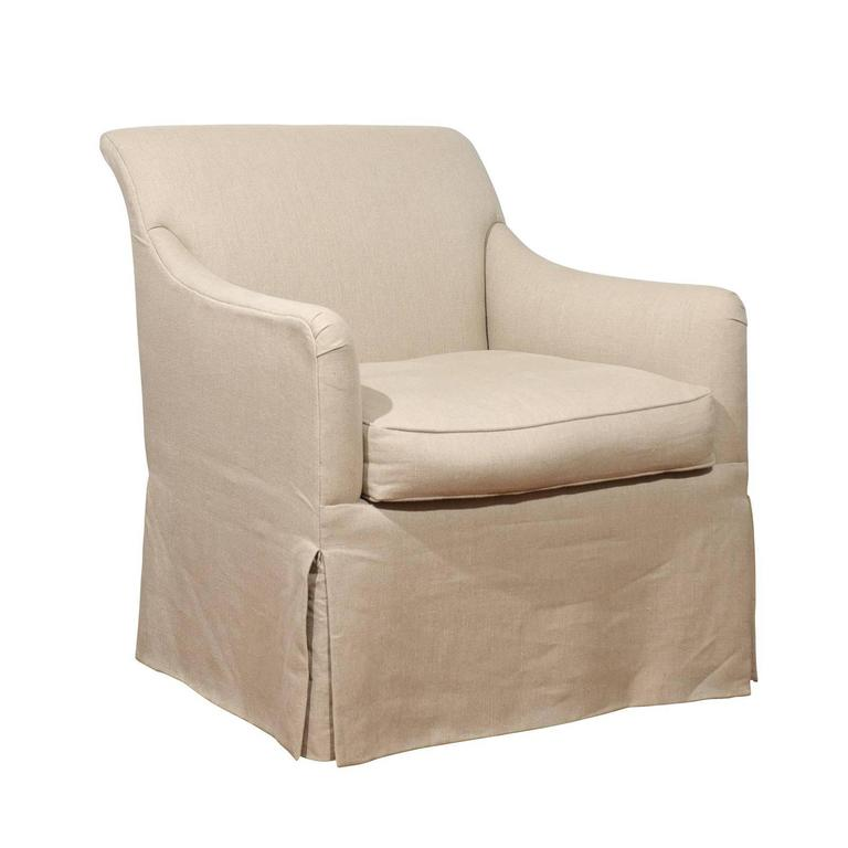 Rose Tarlow Linen Skirted Club Chair For Sale