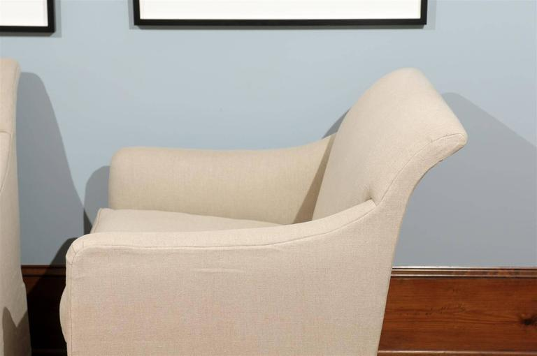 American Rose Tarlow Linen Skirted Club Chair For Sale