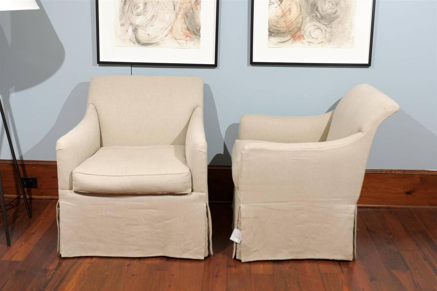 Rose Tarlow Linen Skirted Club Chair At 1stdibs