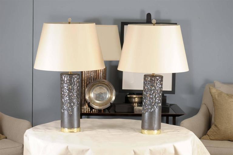 Pair of porcelain glazed lamps by Atlanta native, Courtney Hammel.