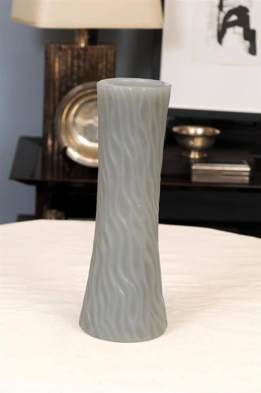 Robert Kuo grey cylindrical carved wave design vase.