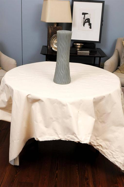 Robert Kuo Grey Cylindrical Carved Wave Design Vase In Good Condition For Sale In Atlanta, GA