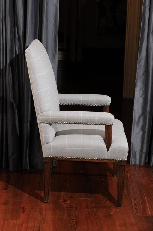 Pair of Directoire Style Armchairs in Holland & Sherry grey window pane wool 3
