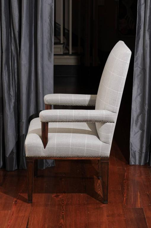 Pair of Directoire Style Armchairs in Holland & Sherry grey window pane wool 5