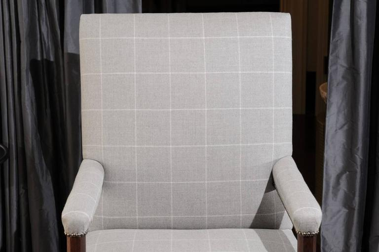 Pair of Directoire Style Armchairs in Holland & Sherry grey window pane wool For Sale 2