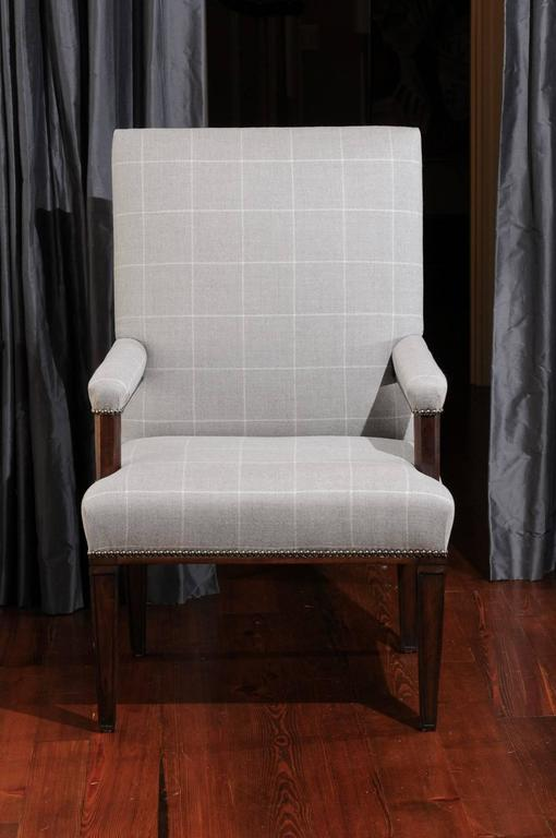 Pair of Directoire Style Armchairs in Holland & Sherry grey window pane wool For Sale 4