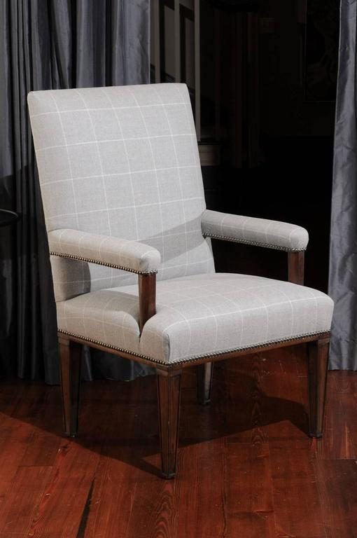 Pair of Directoire Style Armchairs in Holland & Sherry grey window pane wool 9