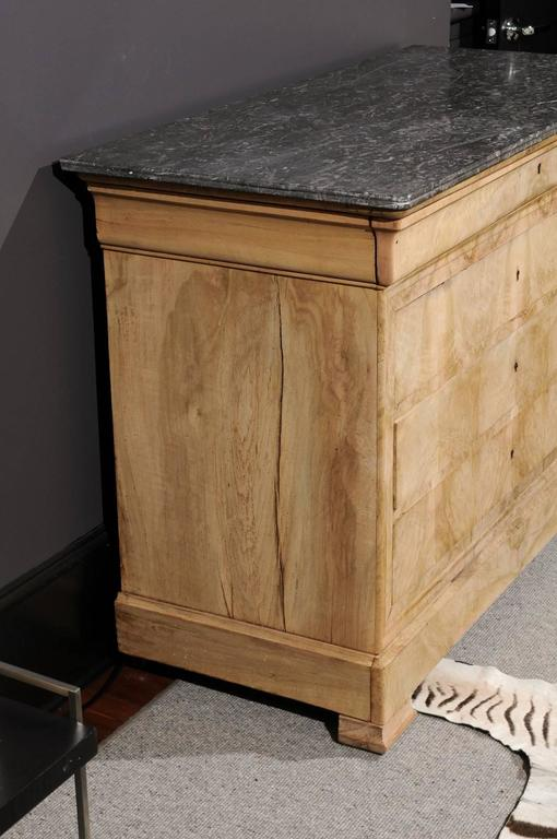 English Antique Chest with Grey Marble Top For Sale