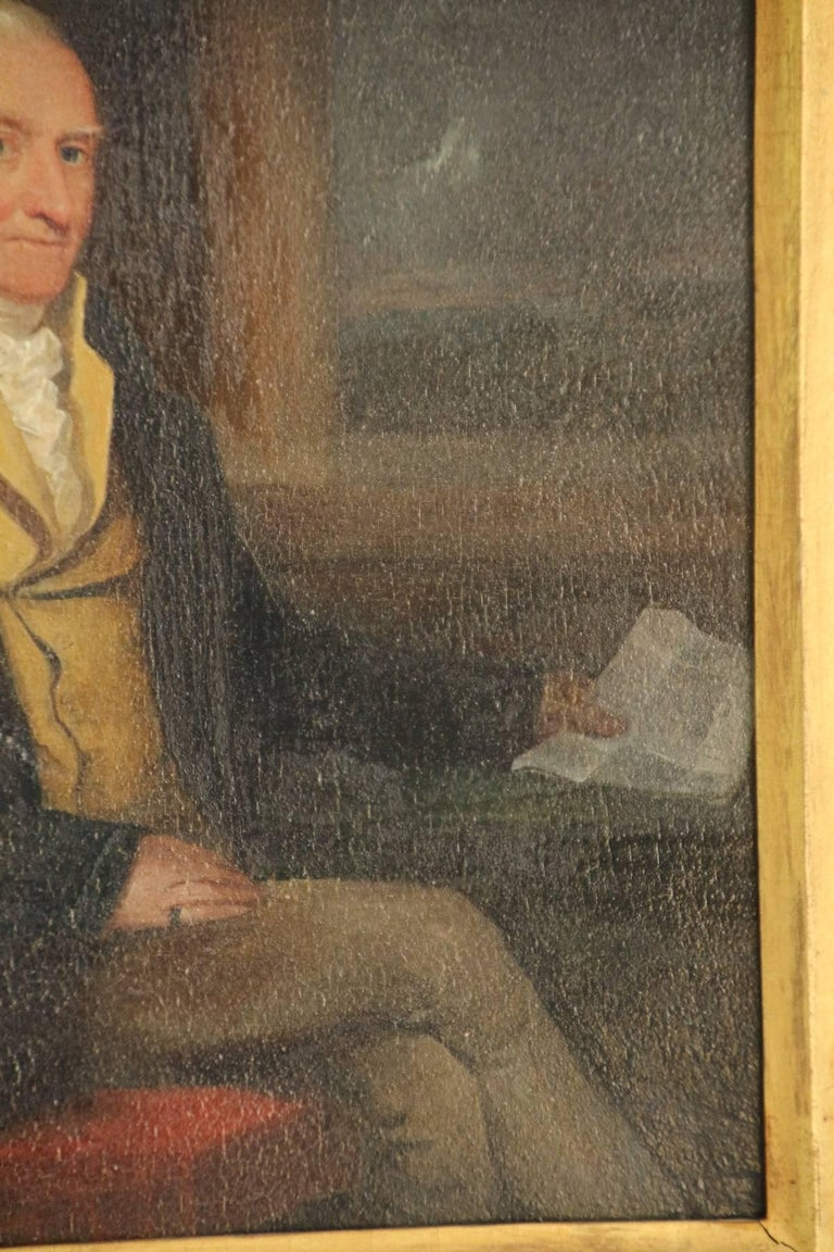 Hand-Painted Late 18th Century Oil on Board Portrait of a Gentleman For Sale