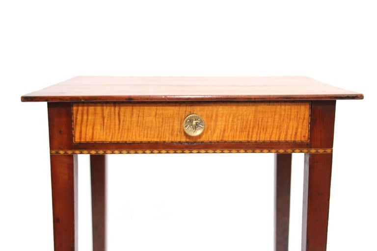 American Connecticut Hepplewhite Cherry Side Table with Inlay For Sale