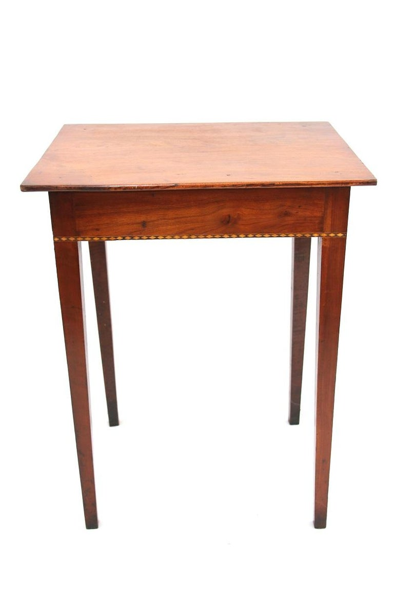 Birdseye Maple Connecticut Hepplewhite Cherry Side Table with Inlay For Sale