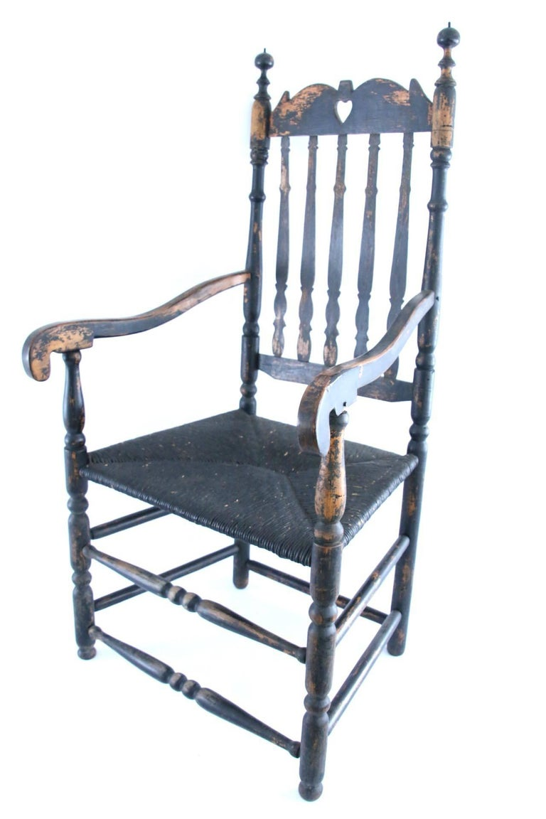18th Century New England Banister Back Armchair For Sale