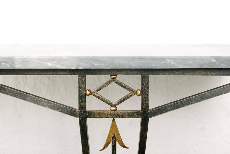 French Art Deco wrought iron console table with marble top.