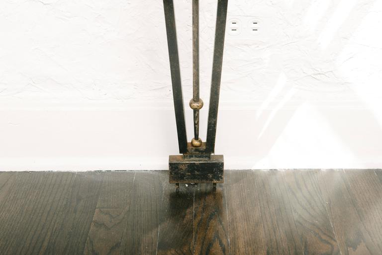 Early 20th Century French Art Deco Wrought Iron Console Table with Marble Top