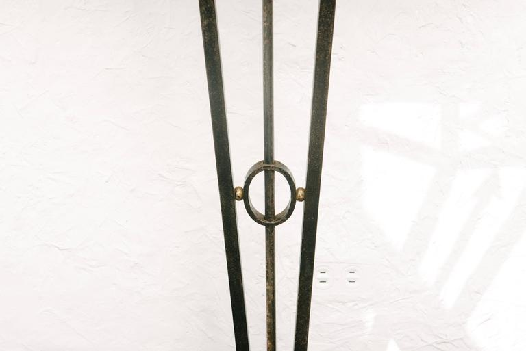 French Art Deco Wrought Iron Console Table with Marble Top In Excellent Condition In Houston, TX