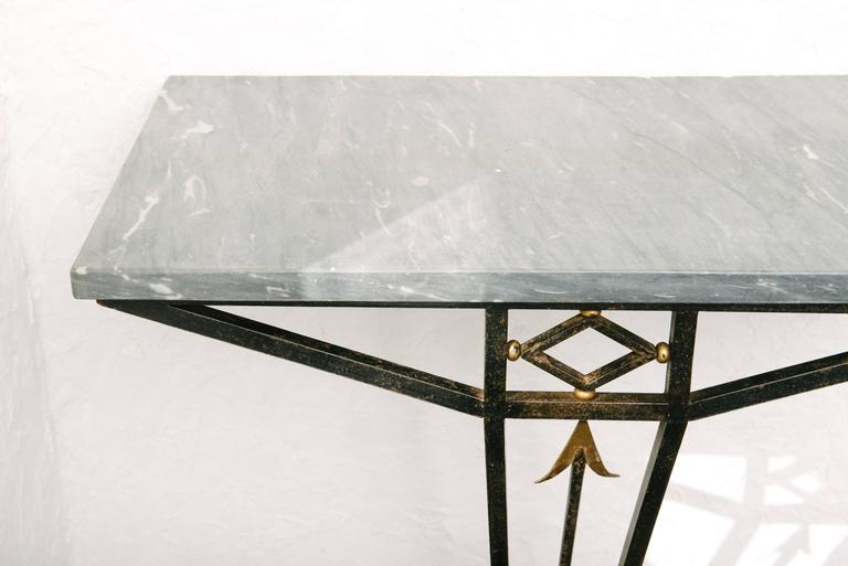 French Art Deco Wrought Iron Console Table with Marble Top 2