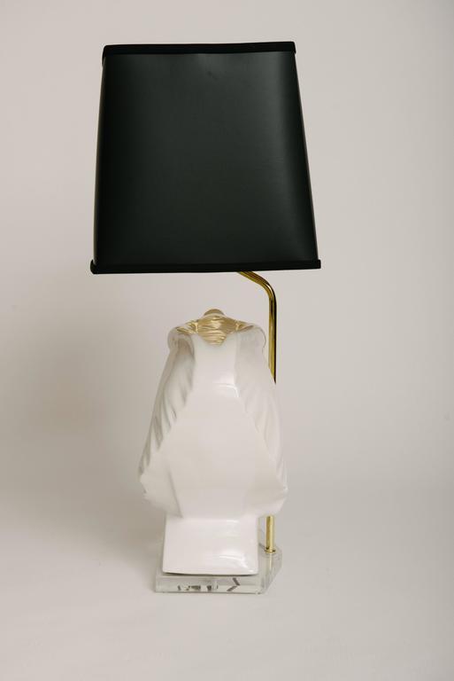 Vintage White Ceramic Elephant Bust Lamp At 1stdibs
