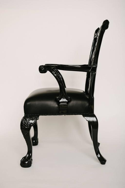 English 19th Century Chippendale Style Lacquered Leather Chair For Sale