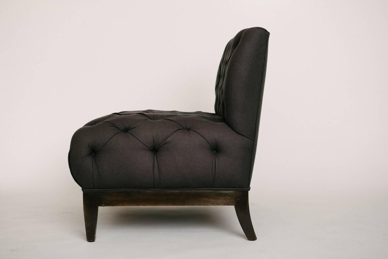 Button Tufted Charcoal Banquette For Sale At 1stdibs