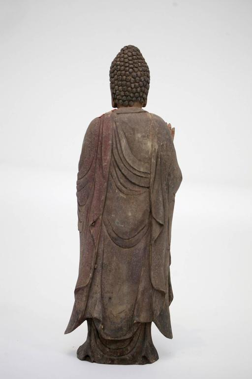Carved Polychrome Standing Buddha Figure For Sale 2