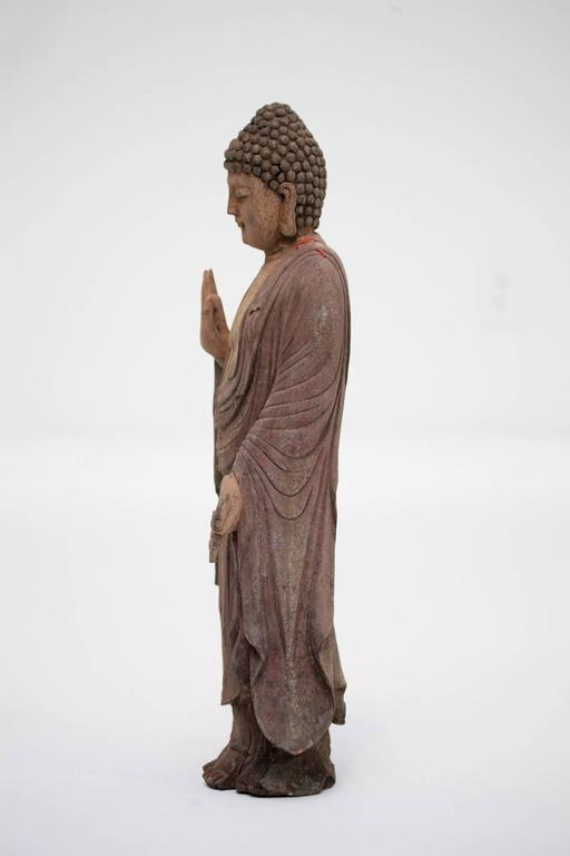 Carved Polychrome Standing Buddha Figure For Sale 1