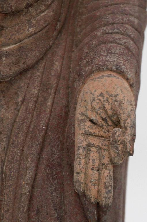 Chinese Carved Polychrome Standing Buddha Figure For Sale