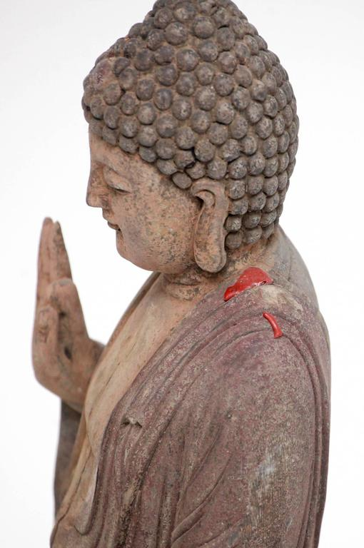 20th Century Carved Polychrome Standing Buddha Figure For Sale
