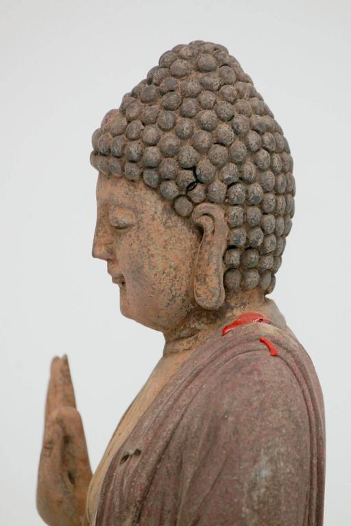 Carved Polychrome Standing Buddha Figure In Excellent Condition For Sale In Houston, TX