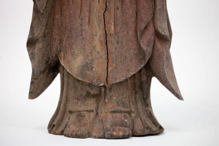 Carved Polychrome Standing Buddha Figure For Sale 3