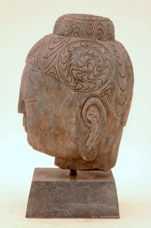 Carved 20th Century Stone Buddha Head For Sale