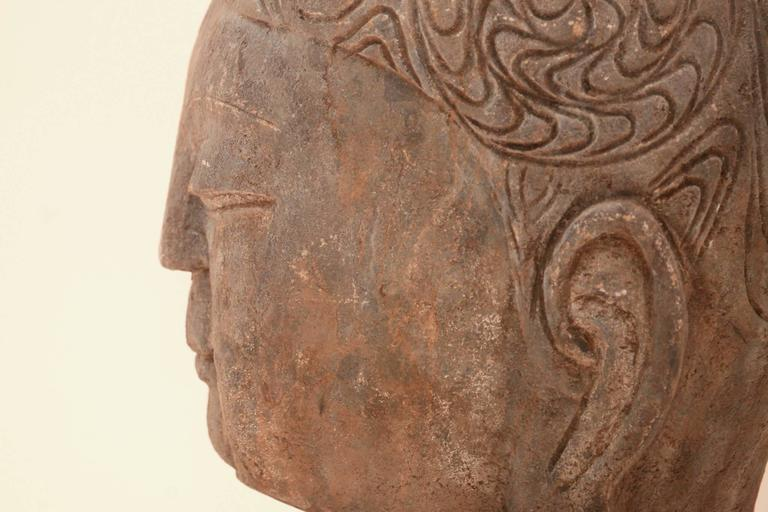 Chinese 20th Century Stone Buddha Head For Sale