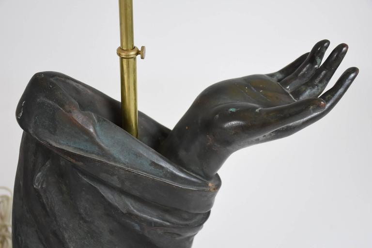 Pair of Sculptural French Bronze Hand Arm Lamps For Sale 1
