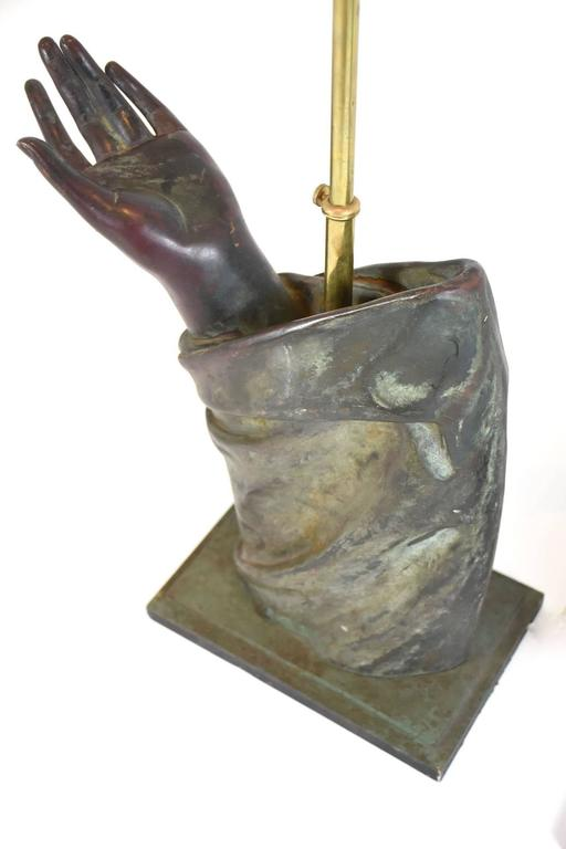 20th Century Pair of Sculptural French Bronze Hand Arm Lamps For Sale