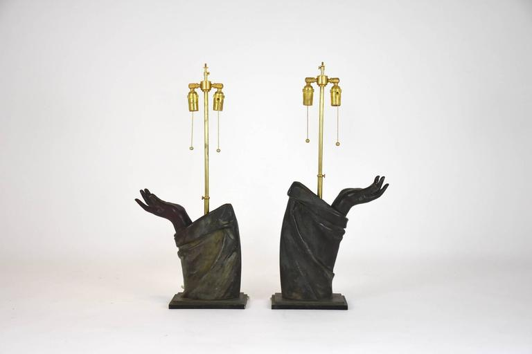 Pair of Sculptural French Bronze Hand Arm Lamps For Sale 3
