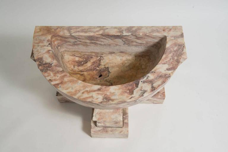French Art Deco Carved Marble Fountain Basin or Planter For Sale