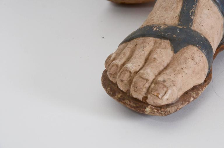 Greco Roman Pair of 18th Century Venetian Paper Mâché Feet with Sandals For Sale