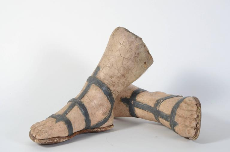 Pair of 18th century Venetian paper mache feet with sandals.