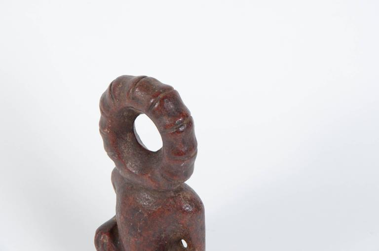 20th Century Chinese Hongshan Style Red Jade Sun God Carving For Sale