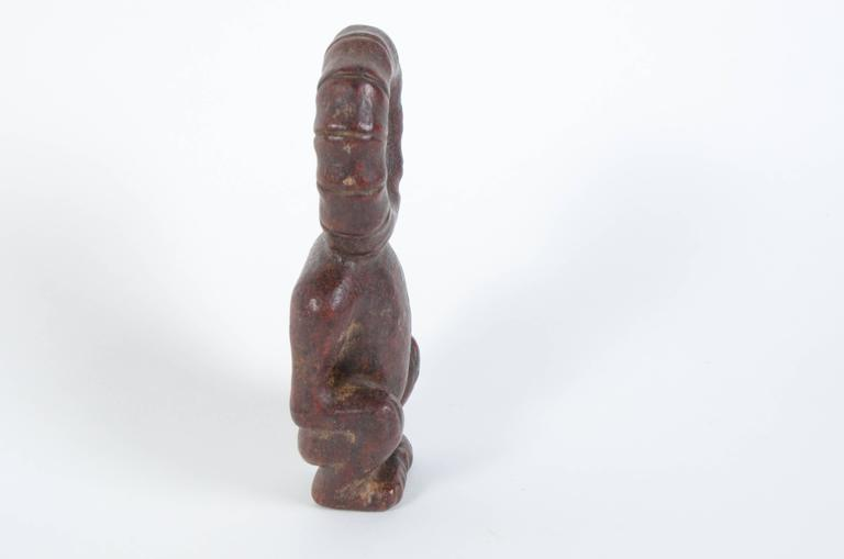 Chinese Hongshan Style Red Jade Sun God Carving In Excellent Condition For Sale In Houston, TX