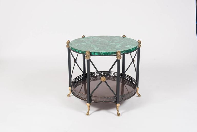 Pair of Maison Jansen Style Bronze and Iron Tables with Malachite Tops 3