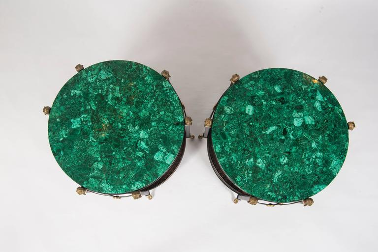 Pair of Maison Jansen Style Bronze and Iron Tables with Malachite Tops 2